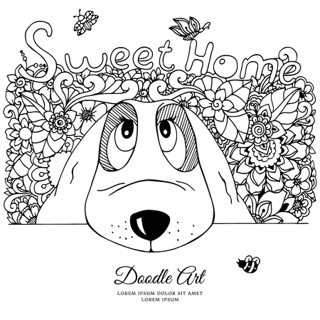 Vector illustration zentangl, dog and flowers Doodle drawing. Meditative exercise. Coloring book anti stress for adults. Black and white.