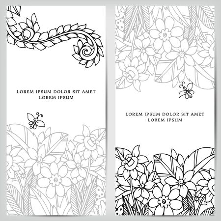 tangle: Vector illustration of card with floral banners Zen Tangle, doodling. Bright, fashion and beauty. Adult coloring books , black, brown and white. Illustration