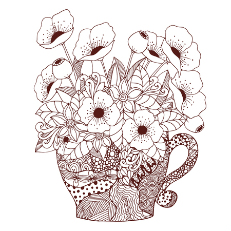 Illustration vectorielle Tangle Zen, tasse et coquelicots. Dessin de Doodle. Livre de coloriage anti stress pour les adultes. Marron et blanc.
