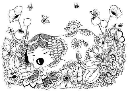 tangle: Vector illustration Zen Tangle, puppy sleeps in flowers. Doodle drawing. Coloring book anti stress for adults. Black and white. Illustration