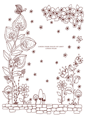 tangle: Vector illustration of floral frame Zen Tangle. Dudlart. Coloring book anti stress for adults. Brown and white. Illustration