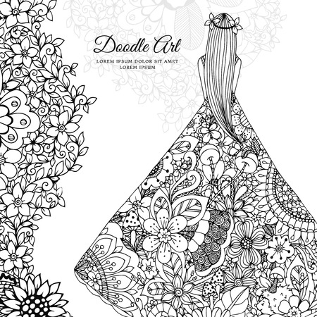 woman behind: Vector illustration Zen Tangle girl in a floral dress. Doodle flowers, tree. Coloring book antis stress for adults. Black and white.