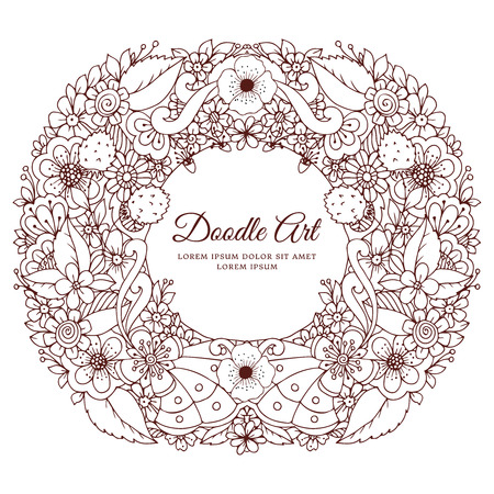 tangle: Vector illustration of floral frame Zen Tangle. Dudlart. Coloring book anti stress for adults. Brown and white. Stock Photo