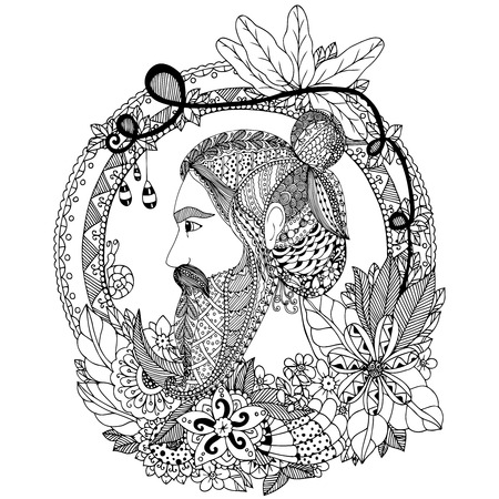 Vector illustration Zen Tangle portrait of a man with an ornament. Doodle floral frame. Coloring book anti stress for adults. Black and white.