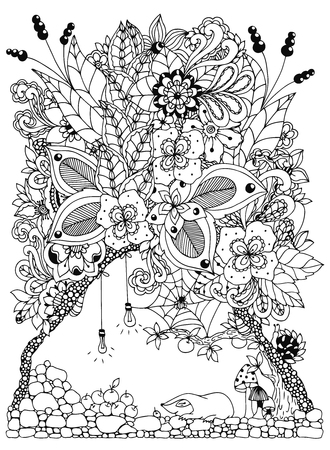 Vector illustration zentangl, a mole in a burrow with flowers. Doodle drawing. Coloring book anti stress for adults. Black and white.