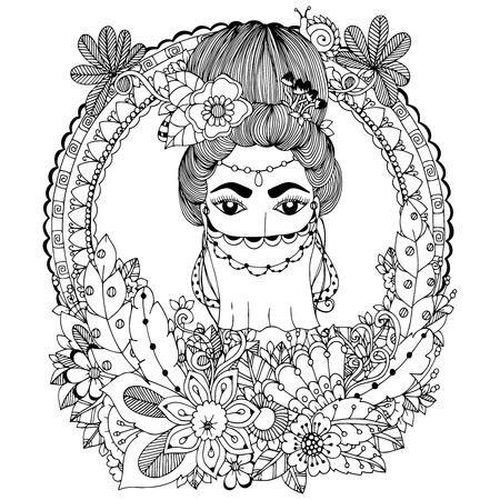 flower head: Vector illustration. Doodle drawing Oriental woman in floral frame. Coloring book anti stress for adults. Black and white. Illustration