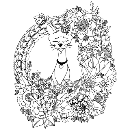 Vector illustration. Doodle drawing Egyptian cat in the floral frame. Coloring book anti stress for adults. Black white.