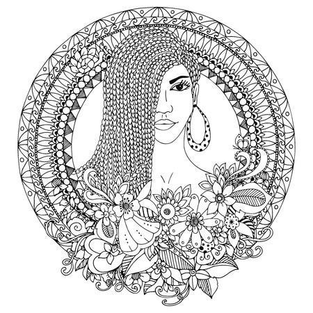 Vektor-Illustration zentangl, Mulatte Frau mit Zöpfen Afrikanische im Blumen runden Rahmen. Gekritzel. Malbuch Anti-Stress für Erwachsene. Schwarz und weiß.