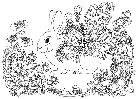 Vector illustration zentangl, hare with a pointer Love in the floral frame. Doodle drawing. Coloring book anti stress for adults. Meditative exercises. Black and white.