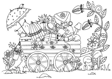 Vector illustration zentangl , cart with things, travel, nature. Doodle drawing. Meditative exercises. Coloring book anti stress for adults. Black and white. Ilustração