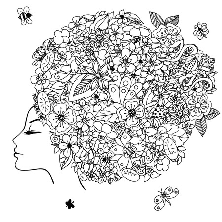 hair dressing: Vector illustration zentangl girl with flowers in her hair. Doodle drawing. Meditative exercise. Coloring book anti stress for adults. Black and white. Illustration