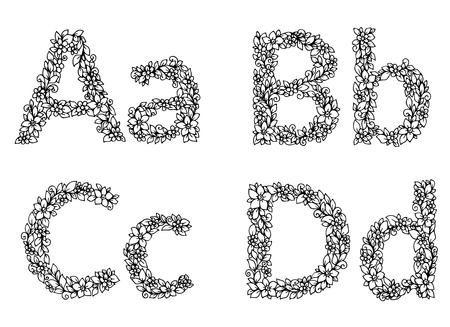 letras negras: ilustración vectorial zentangl, las letras del alfabeto de flores. doodle. ejercicio de meditación. Libro de colorante anti-estrés para los adultos. En blanco y negro.
