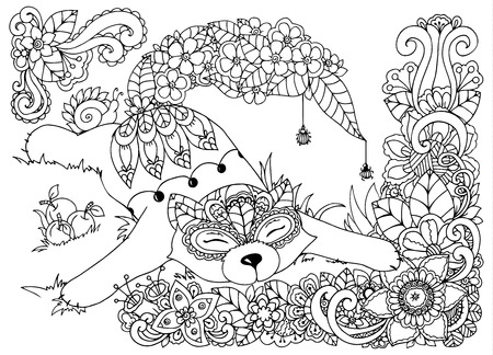 Vector illustration Zen tangd, cat sitting in the flowers. Doodle drawing mushrooms. Coloring book anti stress for adults. Black and white. Иллюстрация