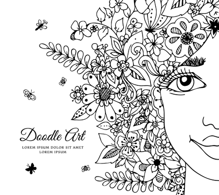 Vector illustration zentangl girl with flowers in her hair. Doodle drawing. Meditative exercise. Coloring book anti stress for adults. Black and white. Ilustração