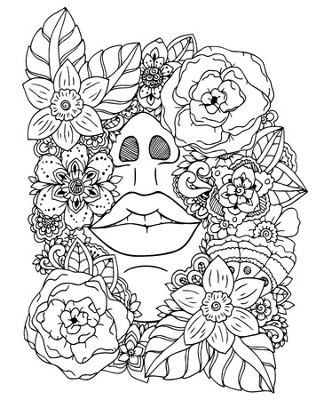 drowned: Vector illustration zentangl girl drowned in flowers. Doodle drawing. Meditative exercise. Coloring book anti stress for adults. Black and white.