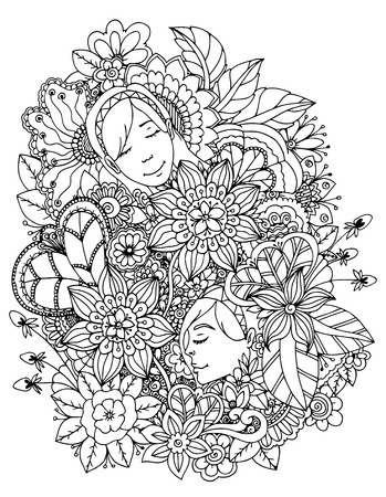 Vector illustration zentangl girl drowned in flowers. Doodle drawing. Meditative exercise. Coloring book anti stress for adults. Black and white.