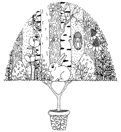 Vector illustration zentangl, hare in the forest. Doodle drawing. Meditative exercises. Coloring book anti stress for adults. Black and white.