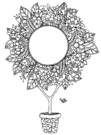 Vector illustration zentangl round floral frame with letering Love and joy. Doodle drawing. Meditative exercises. Coloring book anti stress for adults. Black and white.