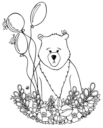Vector illustration zentangl bear in the floral frame set. Doodle drawing. Meditative exercises. Coloring book anti stress for adults. Black and white.  イラスト・ベクター素材