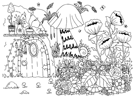 Vector illustration zentangl house in the woods, flowers. Doodle drawing. Meditative exercises. Coloring book anti stress for adults. Black and white. Illusztráció