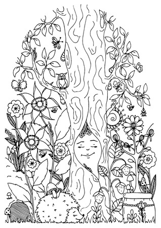Vector illustration zentangl, a hedgehog in the forest and flowers. Doodle drawing. Meditative exercises. Coloring book anti stress for adults. Black and white.