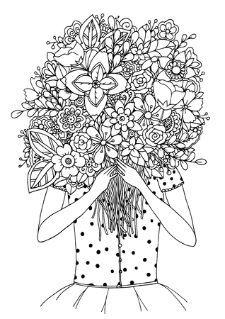 Vector illustration zentangl, a girl and a bouquet of flowers. Doodle drawing. Meditative exercises. Coloring book anti stress for adults. Black and white.