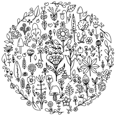 Vector illustration zentangl, round set flowers. Doodle drawing. Meditative exercises. Coloring book anti stress for adults. Black and white. Иллюстрация