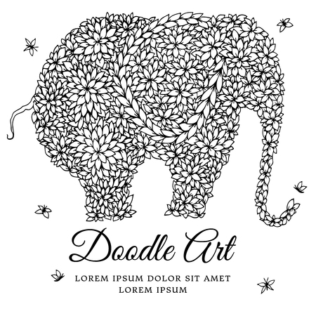 Vector illustration zentangl elephant - a tree in a pot. Doodle drawing. Meditative exercises. Coloring book anti stress for adults. Black and white.