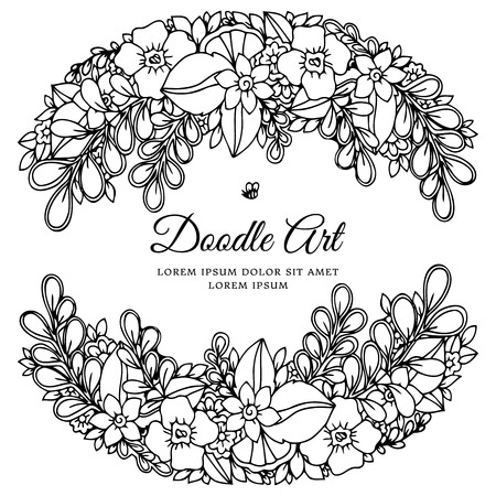 Vector illustration zentangl, floral frame. Doodle drawing. Coloring book anti stress for adults. Meditative exercises. Black and white.