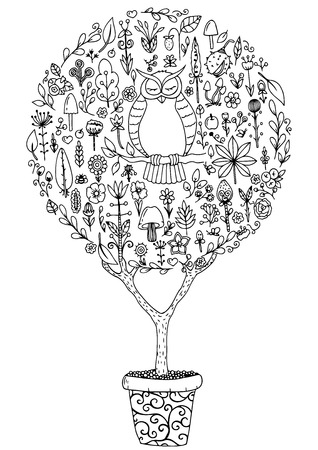 Vector illustration zentangl, round set with an owl and flowers. Doodle drawing. Meditative exercises. Coloring book anti stress for adults. Black and white.
