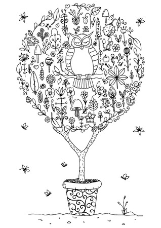 fruit tree: Vector illustration zentangl, round set with an owl and flowers. Doodle drawing. Meditative exercises. Coloring book anti stress for adults. Black and white.