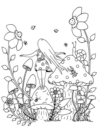 Illustration of handmade work, zentangl girl and nature. Doodle drawing. Coloring page Anti stress for adults. Black and white.