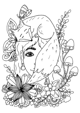 Vector illustration of handmade work, zentangl girl in the flowers and fox. Doodle drawing. Coloring page Anti stress for adults. Black and white.