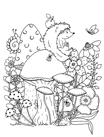 Illustration zentangle. Doodle hedgehog Coloring page Anti stress for adults. Black and white.  イラスト・ベクター素材