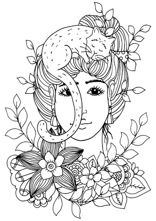 Illustration of handmade work, zentangle girl with flowers and Cat. Doodle drawing. Coloring page Anti stress for adults. Black and white. Иллюстрация