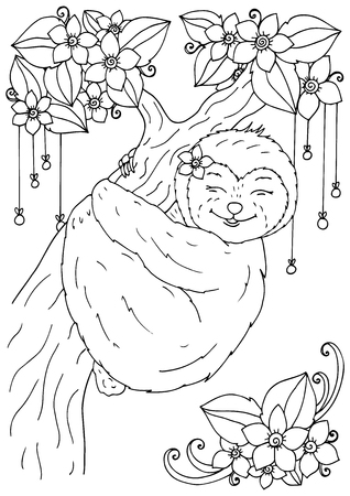 Illustration of handmade work, zentangle the sloth on a tree. Doodle drawing. Coloring page Anti stress for adults. Black and white.