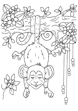 Doodle drawing. Coloring page Anti stress for adults. Black and white. Illustration