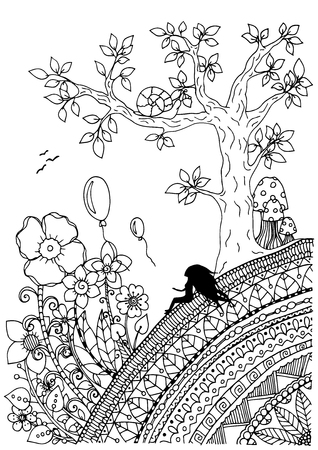 Illustration of handmade work, zentangle girl sitting on a mountain. Doodle drawing. Coloring page Anti stress for adults. Black and white.