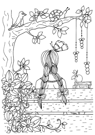 Zentangle girl sitting on the bench. Doodle drawing. Coloring page Anti stress for adults. Black and white.