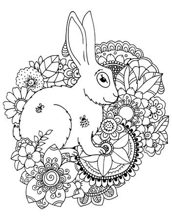 Vector illustration zentangl hare in flowers. Doodle drawing pen. Coloring page for adult anti-stress. Black and white.  イラスト・ベクター素材