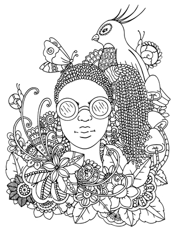 Vector illustration zentangl girl with African braids in the flowers. Doodle drawing pen. Coloring page for adult anti-stress. Black and white.