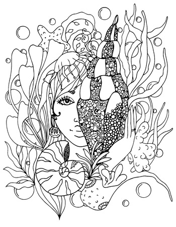 Vector illustration zentangl girl with shell in the ocean. Doodle drawing pen. Coloring page for adult anti-stress. Black and white. Иллюстрация