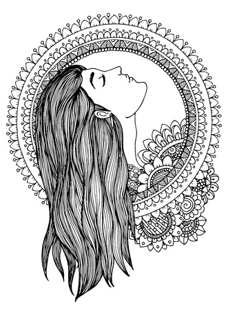 Illustration zentangle girl in the floral frame. Doodle drawing. Meditative exercise. Coloring book anti stress for adults. Black white.  イラスト・ベクター素材