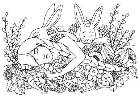 Coloring page for adult anti-stress. Black and white.