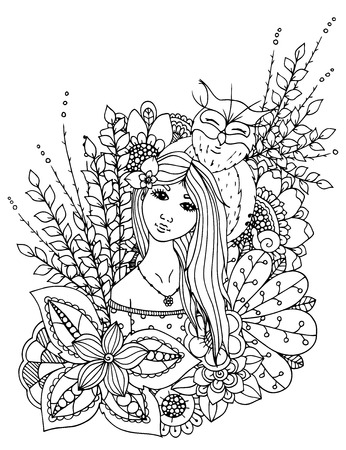 Illustration zentangle girl drowned in flowers. Doodle drawing. Meditative exercise. Coloring book anti stress for adults. Black white.