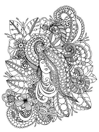 벡터 일러스트 레이 션 zentangl 소녀와 그녀의 머리에 꽃입니다. 낙서 그리기. 명상적 운동. 색칠하기 책 성인을위한 반대로 긴장. 검정, 흰색.