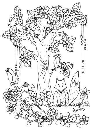 Vector illustration, fox and wood. Doodle drawing pen. Coloring page for adult anti-stress. Black and white.