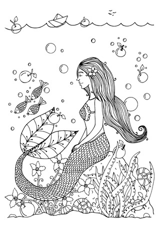 Vector illustration zentangl mermaid in the ocean with apples. Doodle drawing pen. Coloring page for adult anti-stress. Black and white.  イラスト・ベクター素材