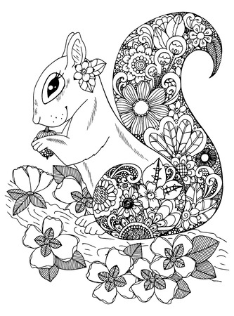 Illustration zentangle, squirrel with flowers. Doodle drawing. Coloring page Anti stress for adults and children. Black and white.  イラスト・ベクター素材