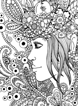 Vector illustration girl in the floral frame. Doodle drawing. Meditative exercise. Coloring book anti stress for adults. Black white.